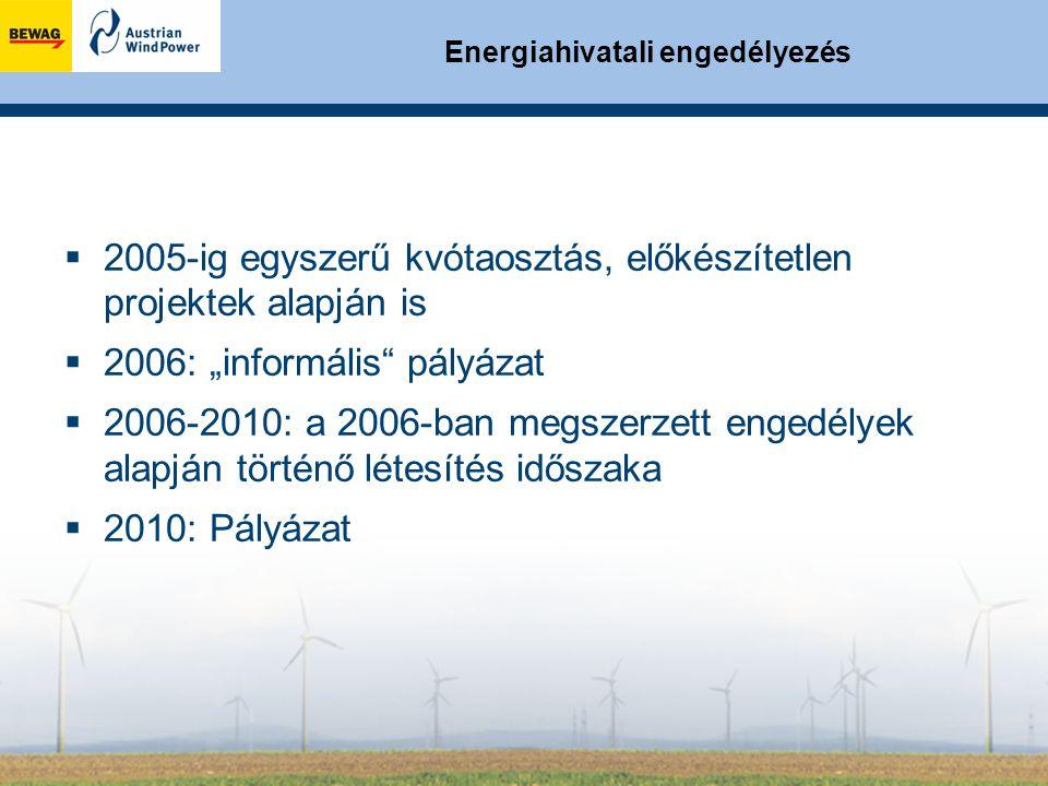 """Energiahivatali engedélyezés  2005-ig egyszerű kvótaosztás, előkészítetlen projektek alapján is  2006: """"informális pályázat  2006-2010: a 2006-ban megszerzett engedélyek alapján történő létesítés időszaka  2010: Pályázat"""