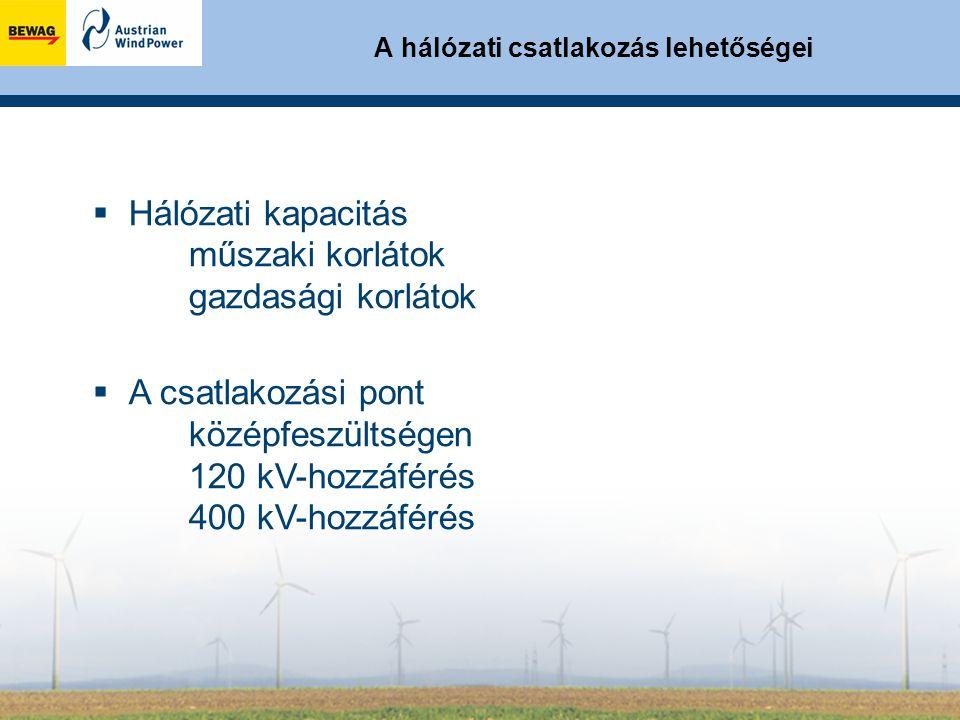 A hálózati csatlakozás lehetőségei  Hálózati kapacitás műszaki korlátok gazdasági korlátok  A csatlakozási pont középfeszültségen 120 kV-hozzáférés 400 kV-hozzáférés