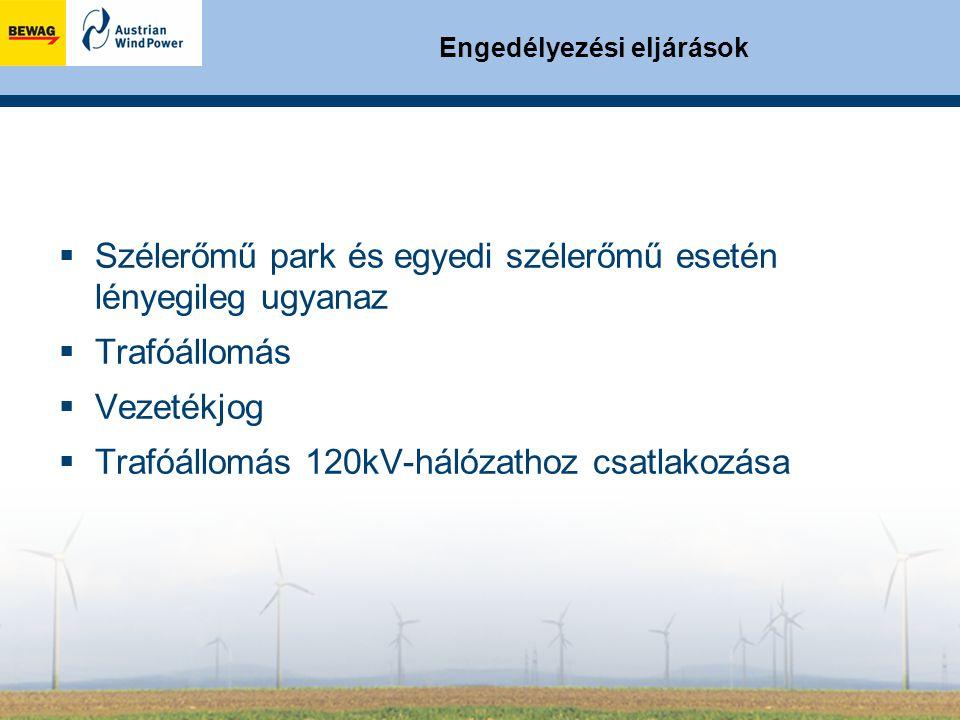 Engedélyezési eljárások  Szélerőmű park és egyedi szélerőmű esetén lényegileg ugyanaz  Trafóállomás  Vezetékjog  Trafóállomás 120kV-hálózathoz csatlakozása