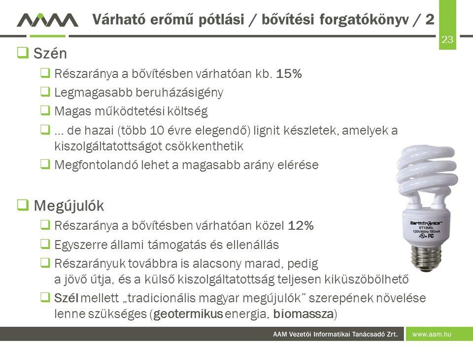 23 Várható erőmű pótlási / bővítési forgatókönyv / 2  Szén  Részaránya a bővítésben várhatóan kb. 15%  Legmagasabb beruházásigény  Magas működteté