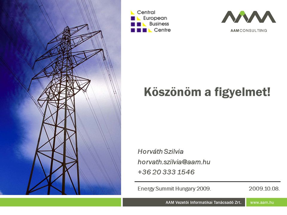 Köszönöm a figyelmet! Horváth Szilvia horvath.szilvia@aam.hu +36 20 333 1546 Energy Summit Hungary 2009.2009.10.08.