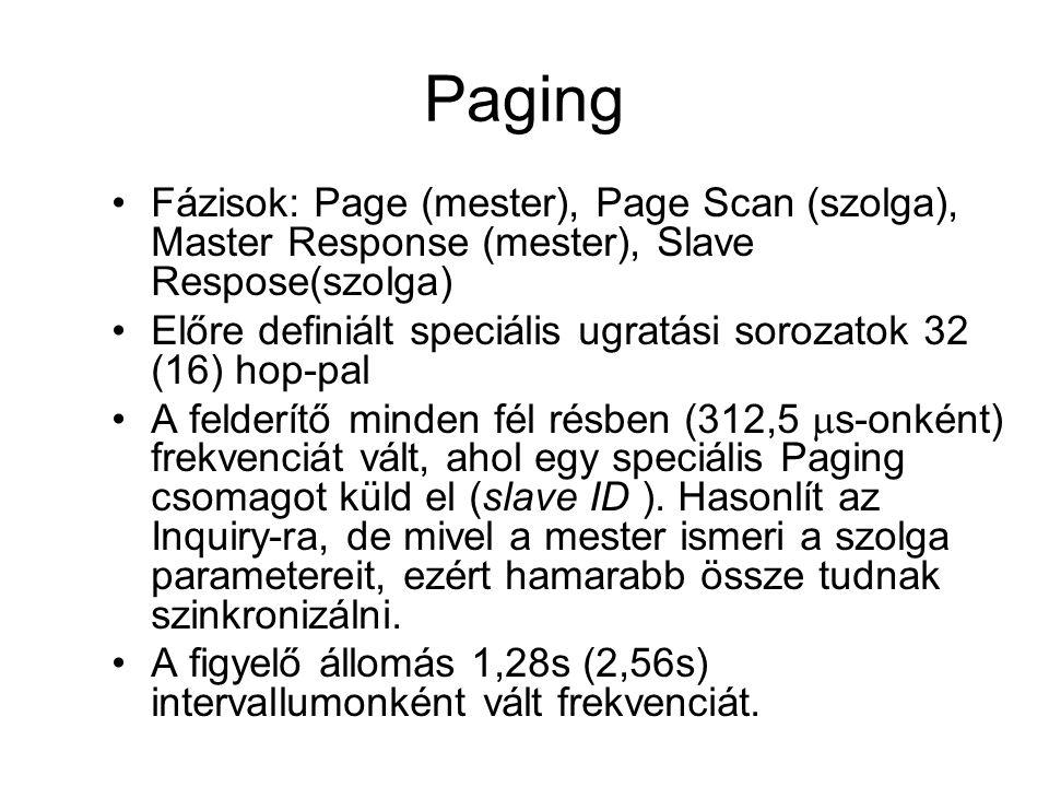 Paging •Fázisok: Page (mester), Page Scan (szolga), Master Response (mester), Slave Respose(szolga) •Előre definiált speciális ugratási sorozatok 32 (16) hop-pal •A felderítő minden fél résben (312,5  s-onként) frekvenciát vált, ahol egy speciális Paging csomagot küld el (slave ID ).