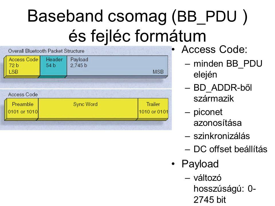Baseband csomag ( BB_PDU ) és fejléc formátum •Access Code: –minden BB_PDU elején –BD_ADDR-ből származik –piconet azonosítása –szinkronizálás –DC offset beállítás •Payload –változó hosszúságú: 0- 2745 bit