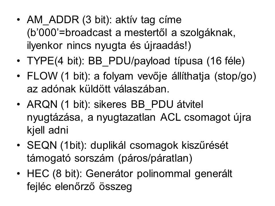 •AM_ADDR (3 bit): aktív tag címe (b'000'=broadcast a mestertől a szolgáknak, ilyenkor nincs nyugta és újraadás!) •TYPE(4 bit): BB_PDU/payload típusa (16 féle) •FLOW (1 bit): a folyam vevője állíthatja (stop/go) az adónak küldött válaszában.
