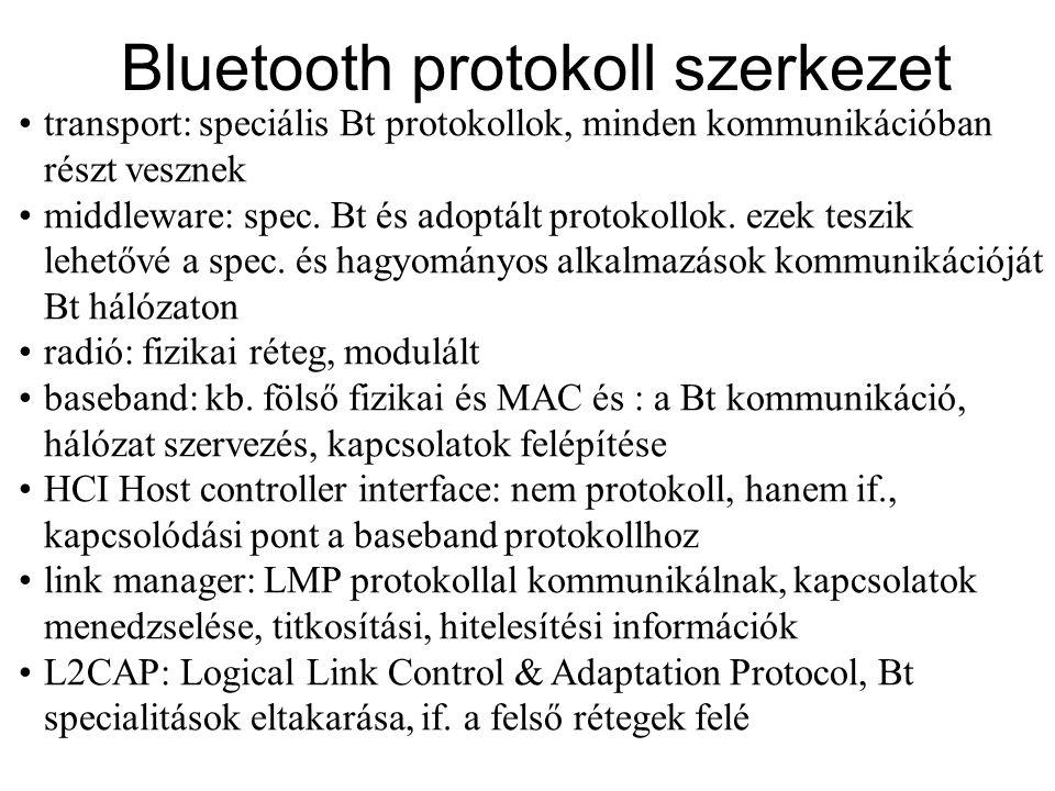 •SDP Service Discovery Protocol, az egyes eszközök ezzel derítik ki az igénybe vehető szolgáltatásokat •RFCOMM: RS232 soros port protokoll emulációja, olyan alkalmazások számára, amik RS232 vezetéken kommunikálnának •TCS Telephony Control Signaling, •egyéb: számos protokoll, RFCOMM fölött megvalósítva, Bt-n való átvitelhez (pl.