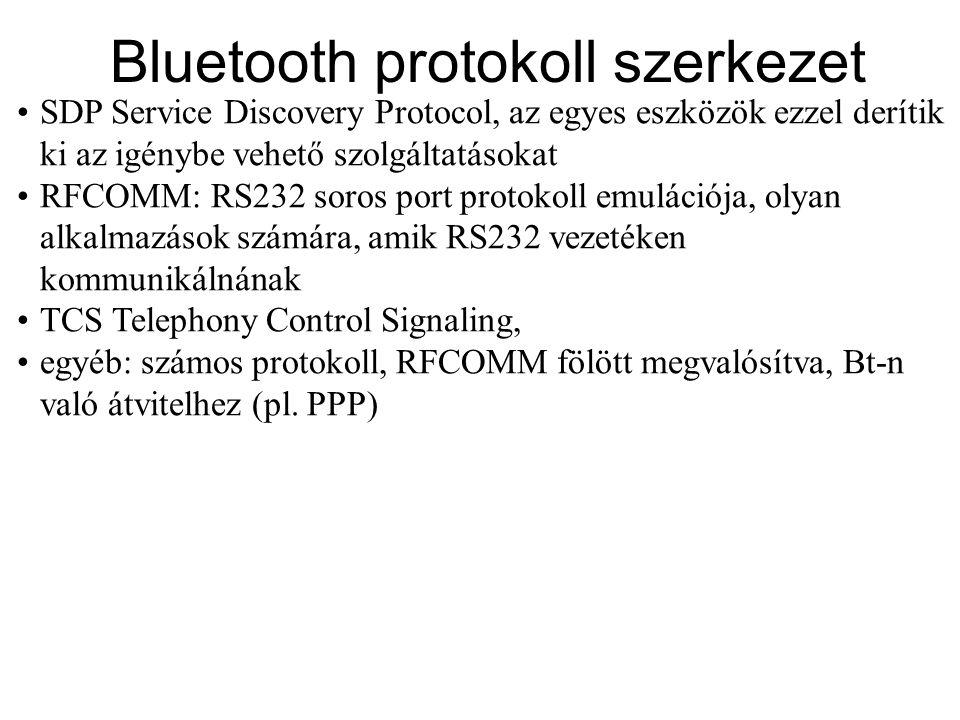 Link Manager Protocol •Két link menedzsment entitás között teremt kapcsolatot, segítségével állíthatók be a Bluetooth linkek.