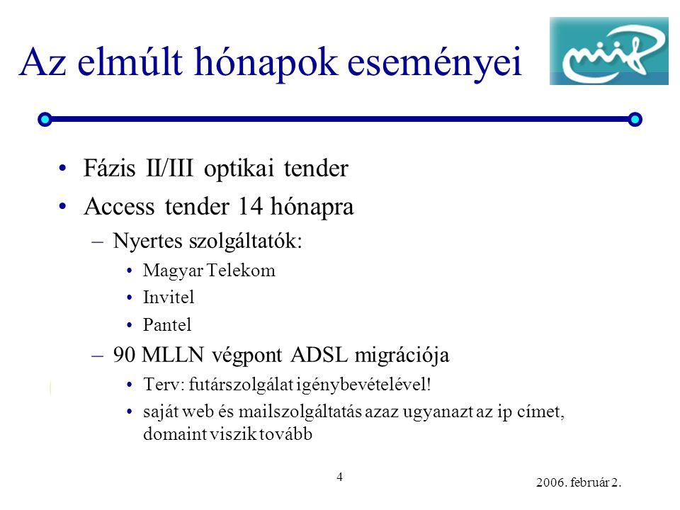 4 2006. február 2. Az elmúlt hónapok eseményei •Fázis II/III optikai tender •Access tender 14 hónapra –Nyertes szolgáltatók: •Magyar Telekom •Invitel