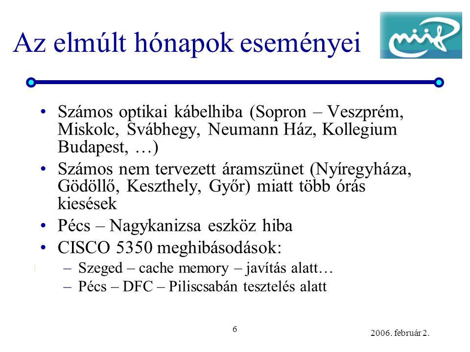 6 2006. február 2. Az elmúlt hónapok eseményei •Számos optikai kábelhiba (Sopron – Veszprém, Miskolc, Svábhegy, Neumann Ház, Kollegium Budapest, …) •S