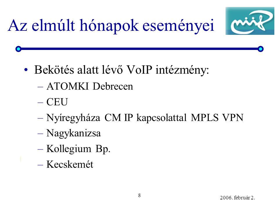 8 2006. február 2. Az elmúlt hónapok eseményei •Bekötés alatt lévő VoIP intézmény: –ATOMKI Debrecen –CEU –Nyíregyháza CM IP kapcsolattal MPLS VPN –Nag