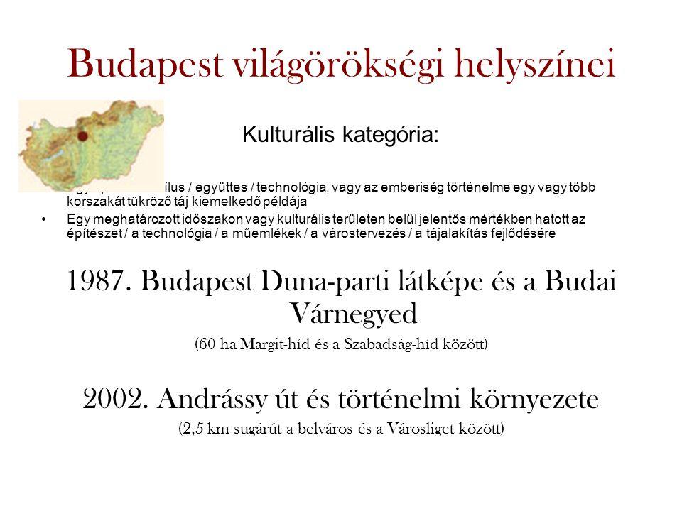 Budapest világörökségi helyszínei Kulturális kategória: •Egy építészeti stílus / együttes / technológia, vagy az emberiség történelme egy vagy több korszakát tükröző táj kiemelkedő példája •Egy meghatározott időszakon vagy kulturális területen belül jelentős mértékben hatott az építészet / a technológia / a műemlékek / a várostervezés / a tájalakítás fejlődésére 1987.