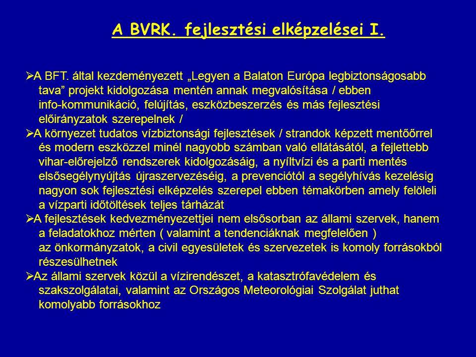 """A BVRK. fejlesztési elképzelései I.  A BFT. által kezdeményezett """"Legyen a Balaton Európa legbiztonságosabb tava"""" projekt kidolgozása mentén annak me"""
