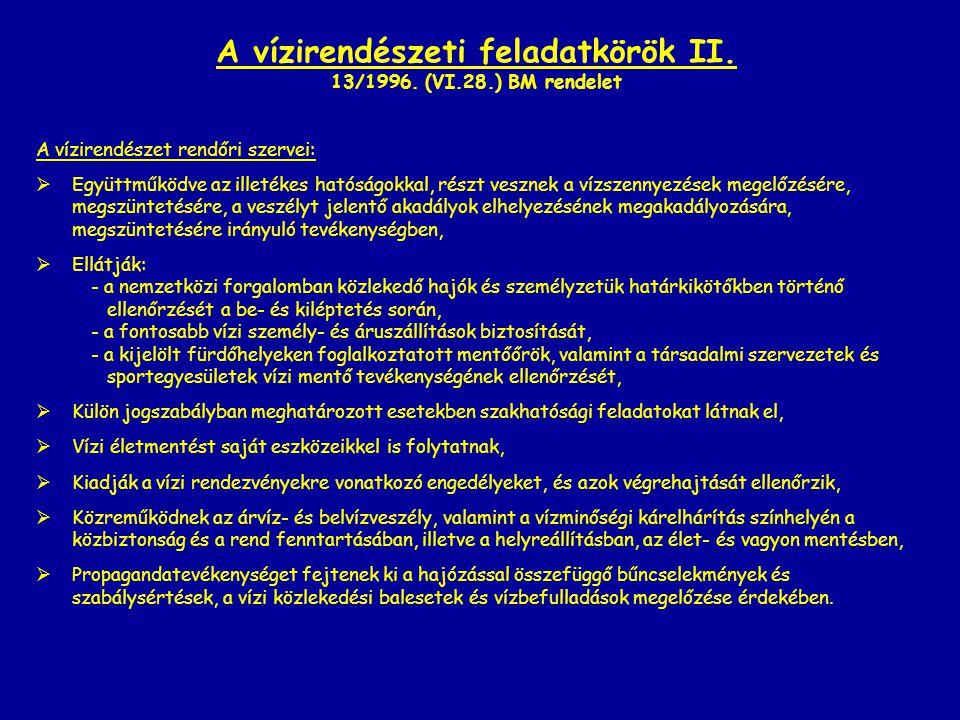 A vízirendészeti feladatkörök II. 13/1996. (VI.28.) BM rendelet A vízirendészet rendőri szervei:  Együttműködve az illetékes hatóságokkal, részt vesz