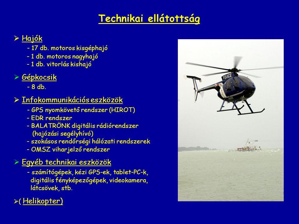 Technikai ellátottság  Hajók - 17 db. motoros kisgéphajó - 1 db. motoros nagyhajó - 1 db. vitorlás kishajó  Gépkocsik - 8 db.  Infokommunikációs es