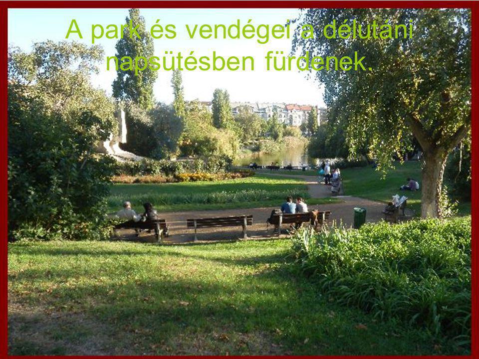 A park és vendégei a délutáni napsütésben fürdenek.