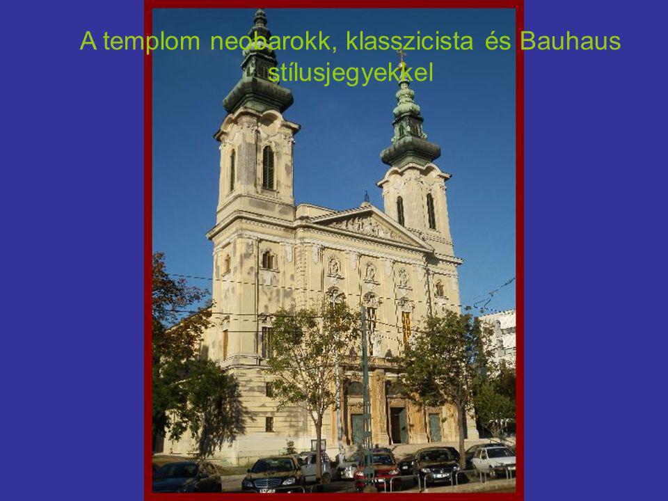 A templom neobarokk, klasszicista és Bauhaus stílusjegyekkel