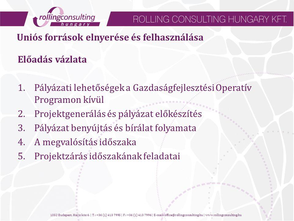 Uniós források elnyerése és felhasználása Előadás vázlata 1.Pályázati lehetőségek a Gazdaságfejlesztési Operatív Programon kívül 2.Projektgenerálás és pályázat előkészítés 3.Pályázat benyújtás és bírálat folyamata 4.A megvalósítás időszaka 5.Projektzárás időszakának feladatai 1052 Budapest, Haris köz 6.