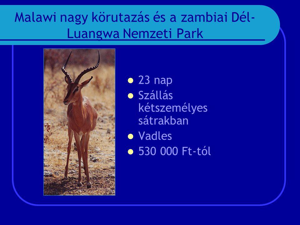 Malawi nagy körutazás és a zambiai Dél- Luangwa Nemzeti Park  23 nap  Szállás kétszemélyes sátrakban  Vadles  530 000 Ft-tól