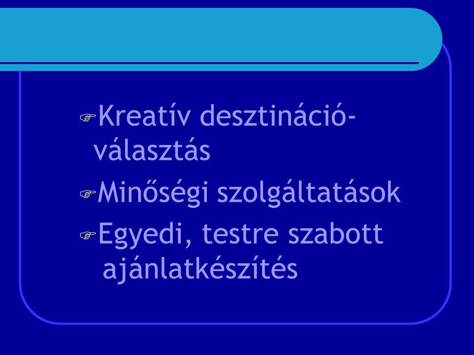  Kreatív desztináció- választás  Minőségi szolgáltatások  Egyedi, testre szabott ajánlatkészítés