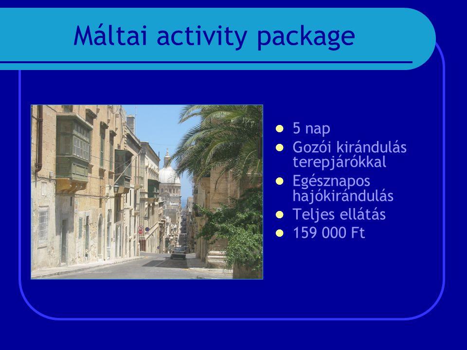 Máltai activity package  5 nap  Gozói kirándulás terepjárókkal  Egésznapos hajókirándulás  Teljes ellátás  159 000 Ft