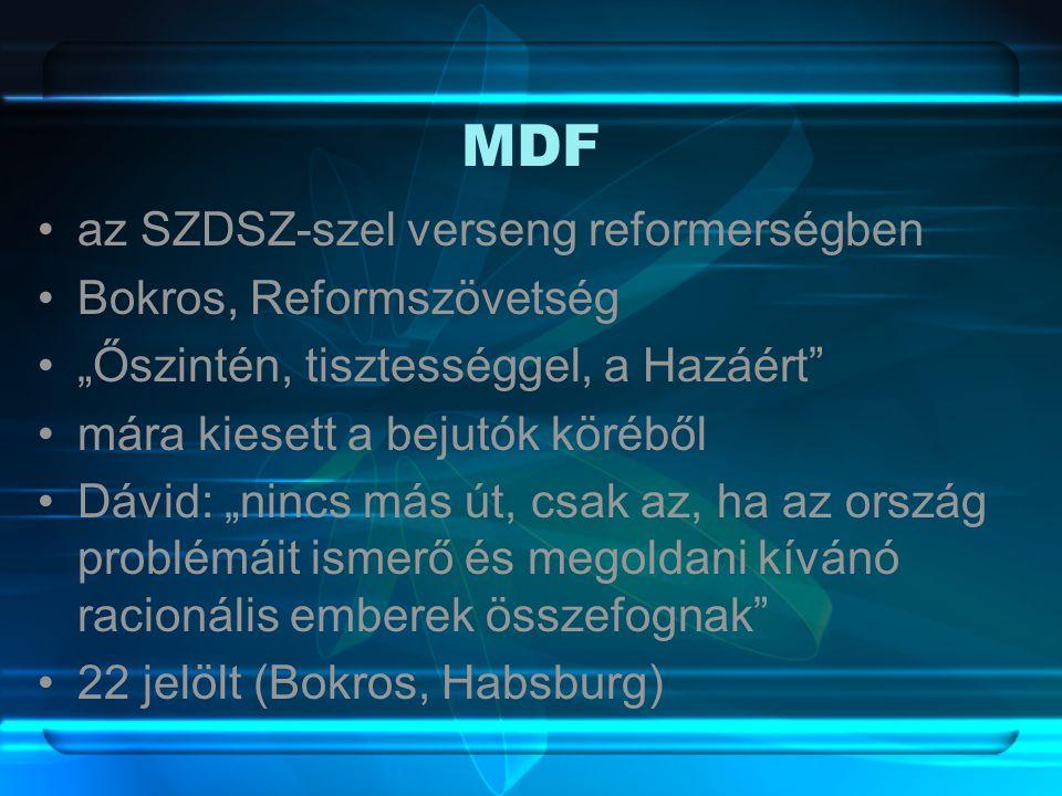 """MDF •az SZDSZ-szel verseng reformerségben •Bokros, Reformszövetség •""""Őszintén, tisztességgel, a Hazáért •mára kiesett a bejutók köréből •Dávid: """"nincs más út, csak az, ha az ország problémáit ismerő és megoldani kívánó racionális emberek összefognak •22 jelölt (Bokros, Habsburg)"""