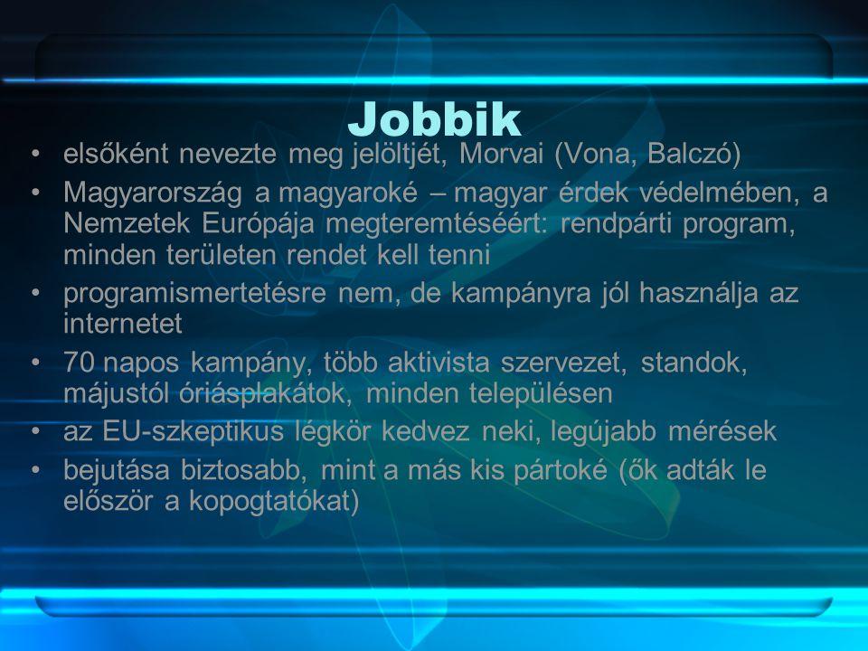 Jobbik •elsőként nevezte meg jelöltjét, Morvai (Vona, Balczó) •Magyarország a magyaroké – magyar érdek védelmében, a Nemzetek Európája megteremtéséért: rendpárti program, minden területen rendet kell tenni •programismertetésre nem, de kampányra jól használja az internetet •70 napos kampány, több aktivista szervezet, standok, májustól óriásplakátok, minden településen •az EU-szkeptikus légkör kedvez neki, legújabb mérések •bejutása biztosabb, mint a más kis pártoké (ők adták le először a kopogtatókat)