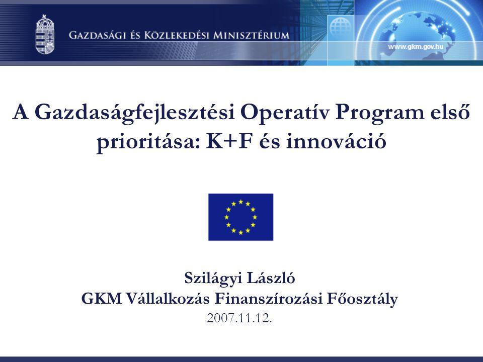 A Gazdaságfejlesztési Operatív Program első prioritása: K+F és innováció Szilágyi László GKM Vállalkozás Finanszírozási Főosztály 2007.11.12.