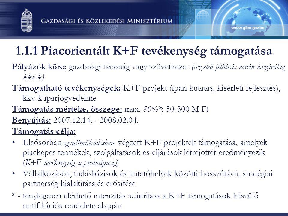 Pályázók köre: gazdasági társaság vagy szövetkezet (az első felhívás során kizárólag kkv-k) Támogatható tevékenységek: K+F projekt (ipari kutatás, kís