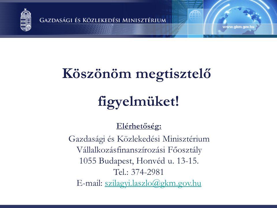 Köszönöm megtisztelő figyelmüket! Elérhetőség: Gazdasági és Közlekedési Minisztérium Vállalkozásfinanszírozási Főosztály 1055 Budapest, Honvéd u. 13-1