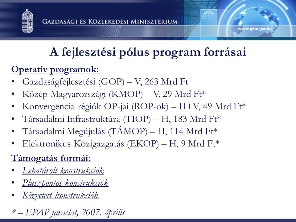 A fejlesztési pólus program forrásai Operatív programok: •Gazdaságfejlesztési (GOP) – V, 263 Mrd Ft •Közép-Magyarországi (KMOP) – V, 29 Mrd Ft* •Konvergencia régiók OP-jai (ROP-ok) – H+V, 49 Mrd Ft* •Társadalmi Infrastruktúra (TIOP) – H, 183 Mrd Ft* •Társadalmi Megújulás (TÁMOP) – H, 114 Mrd Ft* •Elektronikus Közigazgatás (EKOP) – H, 9 Mrd Ft* Támogatás formái: •Lehatárolt konstrukciók •Pluszpontos konstrukciók •Közvetett konstrukciók * – EPAP javaslat, 2007.