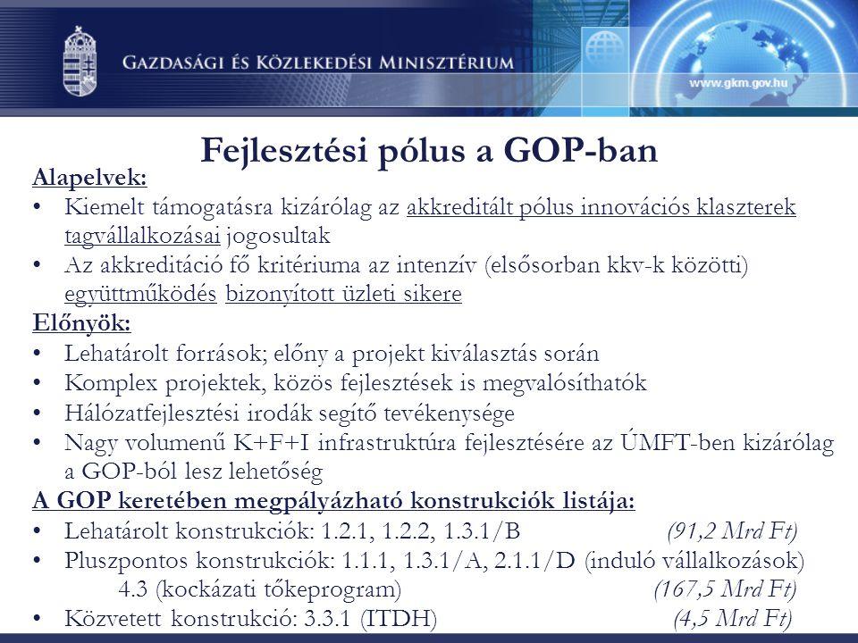 Fejlesztési pólus a GOP-ban Alapelvek: •Kiemelt támogatásra kizárólag az akkreditált pólus innovációs klaszterek tagvállalkozásai jogosultak •Az akkre