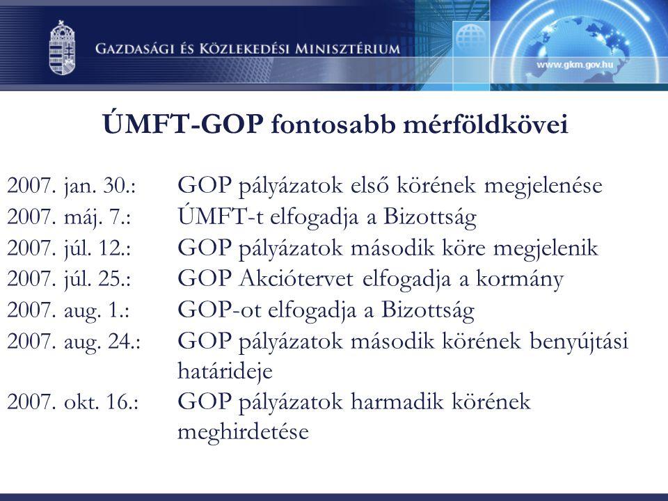 ÚMFT-GOP fontosabb mérföldkövei 2007. jan. 30.: GOP pályázatok első körének megjelenése 2007. máj. 7.: ÚMFT-t elfogadja a Bizottság 2007. júl. 12.: GO