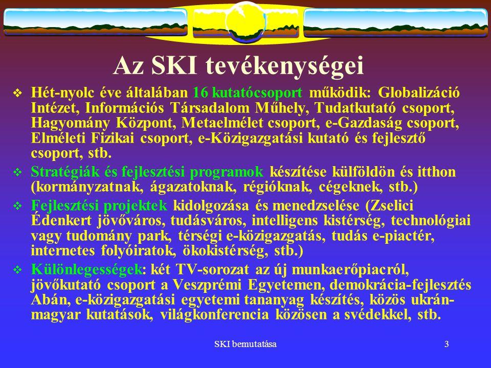 SKI bemutatása3 Az SKI tevékenységei  Hét-nyolc éve általában 16 kutatócsoport működik: Globalizáció Intézet, Információs Társadalom Műhely, Tudatkutató csoport, Hagyomány Központ, Metaelmélet csoport, e-Gazdaság csoport, Elméleti Fizikai csoport, e-Közigazgatási kutató és fejlesztő csoport, stb.