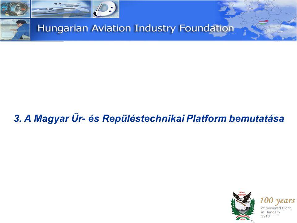 3.1 A Hungarian Aerospace Technology Platform létrehozása Alapítók: • 2 Egyetemi tanszék (BUTE, ELTE) • 1 Kutatóintézet (KFKI AEKI,) • 4 Vállalkozás: Bonn Hungary Electronics Kft.
