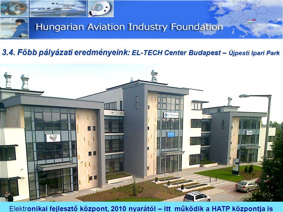 Elektronikai fejlesztő központ, 2010 nyarától – itt működik a HATP központja is 3.4. Főbb pályázati eredményeink: EL-TECH Center Budapest – Újpesti Ip