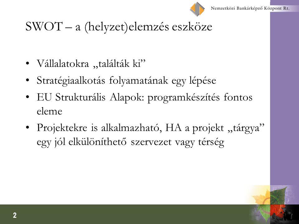 """2 SWOT – a (helyzet)elemzés eszköze •Vállalatokra """"találták ki •Stratégiaalkotás folyamatának egy lépése •EU Strukturális Alapok: programkészítés fontos eleme •Projektekre is alkalmazható, HA a projekt """"tárgya egy jól elkülöníthető szervezet vagy térség"""