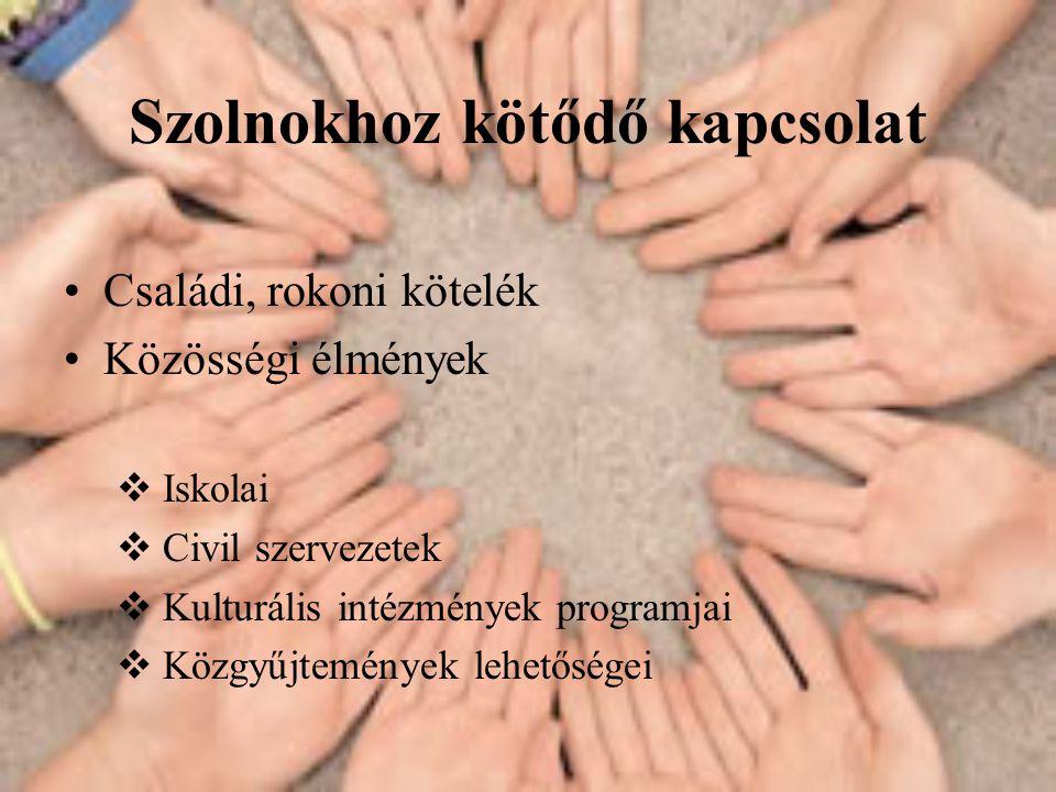 Szolnokhoz kötődő kapcsolat •Családi, rokoni kötelék •Közösségi élmények  Iskolai  Civil szervezetek  Kulturális intézmények programjai  Közgyűjtemények lehetőségei