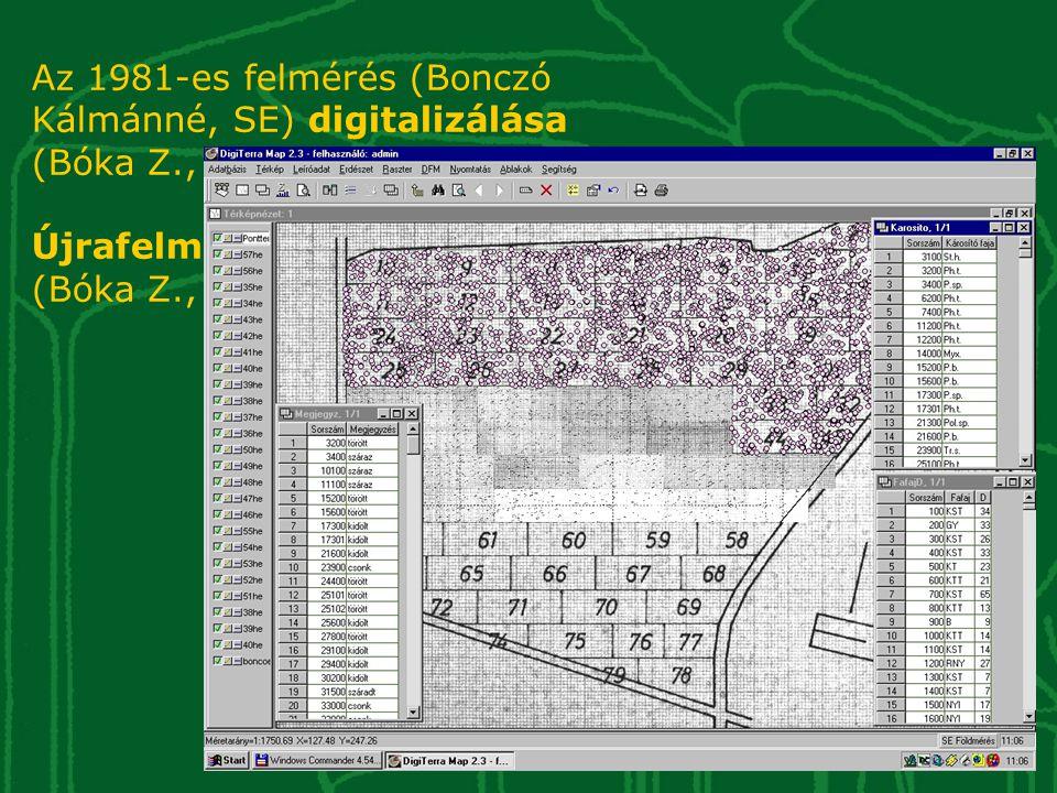 Az 1981-es felmérés (Bonczó Kálmánné, SE) digitalizálása (Bóka Z., Csernyi R. 2005) Újrafelmérés és összehasonlítás (Bóka Z., Csernyi R. 2005)