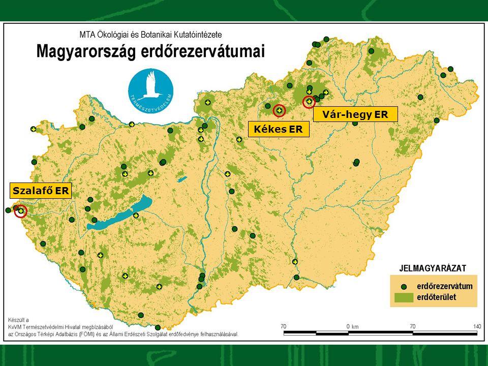 Kutatási stratégia A 63 erdőrezervátumból: •eseménykövetés (EK) – 58 ER •hosszútávú vizsgálatok (HTV) – 39 ER •célorientált kutatások (CK) – 11 ER Kék