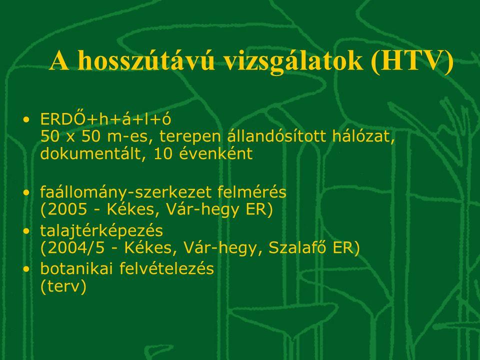 A hosszútávú vizsgálatok (HTV) •ERDŐ+h+á+l+ó 50 x 50 m-es, terepen állandósított hálózat, dokumentált, 10 évenként •faállomány-szerkezet felmérés (200