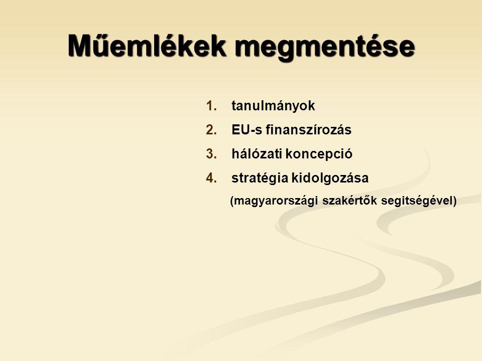 Műemlékek megmentése 1. 1. tanulmányok 2. 2. EU-s finanszírozás 3.
