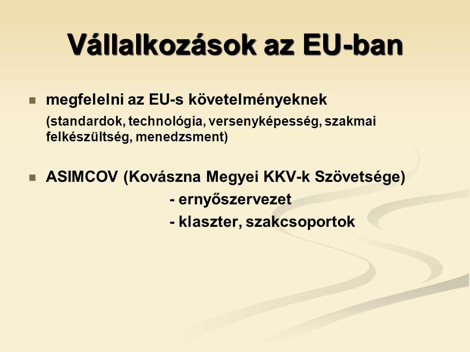 Vállalkozások az EU-ban   megfelelni az EU-s követelményeknek (standardok, technológia, versenyképesség, szakmai felkészültség, menedzsment)   ASIMCOV (Kovászna Megyei KKV-k Szövetsége) - ernyőszervezet - klaszter, szakcsoportok