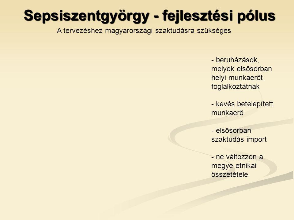 Sepsiszentgyörgy - fejlesztési pólus - beruházások, melyek elsősorban helyi munkaerőt foglalkoztatnak - kevés betelepített munkaerő - elsősorban szaktudás import - ne változzon a megye etnikai összetétele A tervezéshez magyarországi szaktudásra szükséges