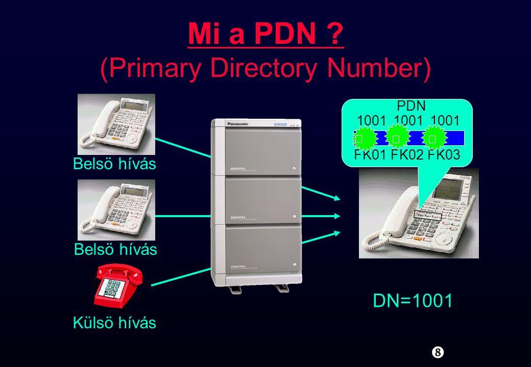""""""" Mi a PDN ? (Primary Directory Number) 1001 PDN FK01FK02FK03 DN=1001 Külsö hívás Belsö hívás"""
