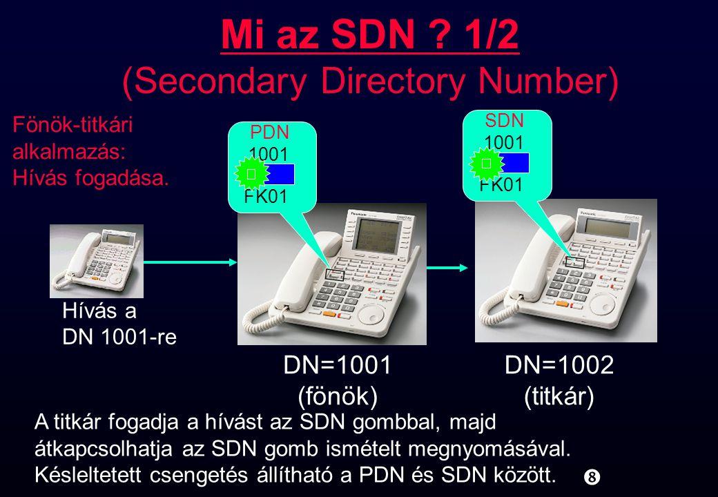 """1001 SDN FK01 """" Mi az SDN ? 1/2 (Secondary Directory Number) 1001 PDN FK01 DN=1001 (fönök) DN=1002 (titkár) A titkár fogadja a hívást az SDN gombbal,"""