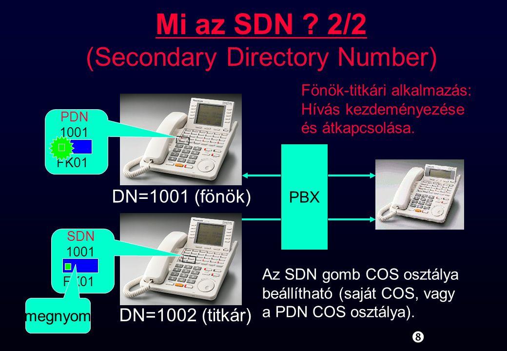 """"""" 1001 SDN FK01 DN=1001 (fönök) 1001 PDN FK01 DN=1002 (titkár) PBX megnyom Az SDN gomb COS osztálya beállítható (saját COS, vagy a PDN COS osztálya)."""