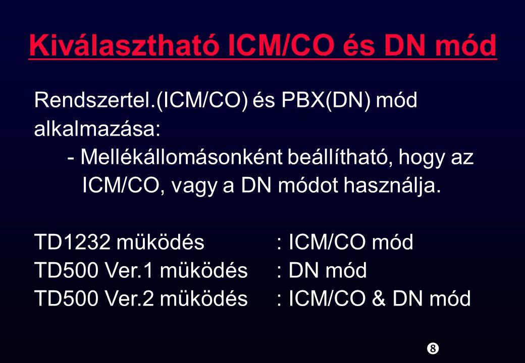 """"""" Kiválasztható ICM/CO és DN mód Rendszertel.(ICM/CO) és PBX(DN) mód alkalmazása: - Mellékállomásonként beállítható, hogy az ICM/CO, vagy a DN módot h"""