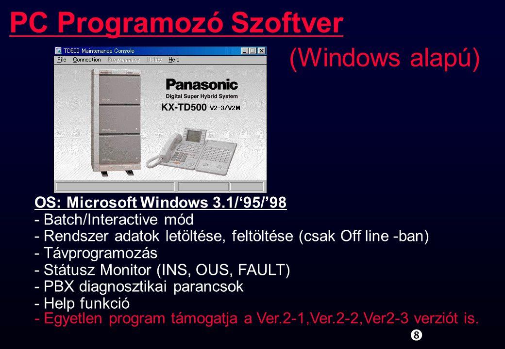 """PC Programozó Szoftver (Windows alapú) """" OS: Microsoft Windows 3.1/'95/'98 - Batch/Interactive mód - Rendszer adatok letöltése, feltöltése (csak Off l"""