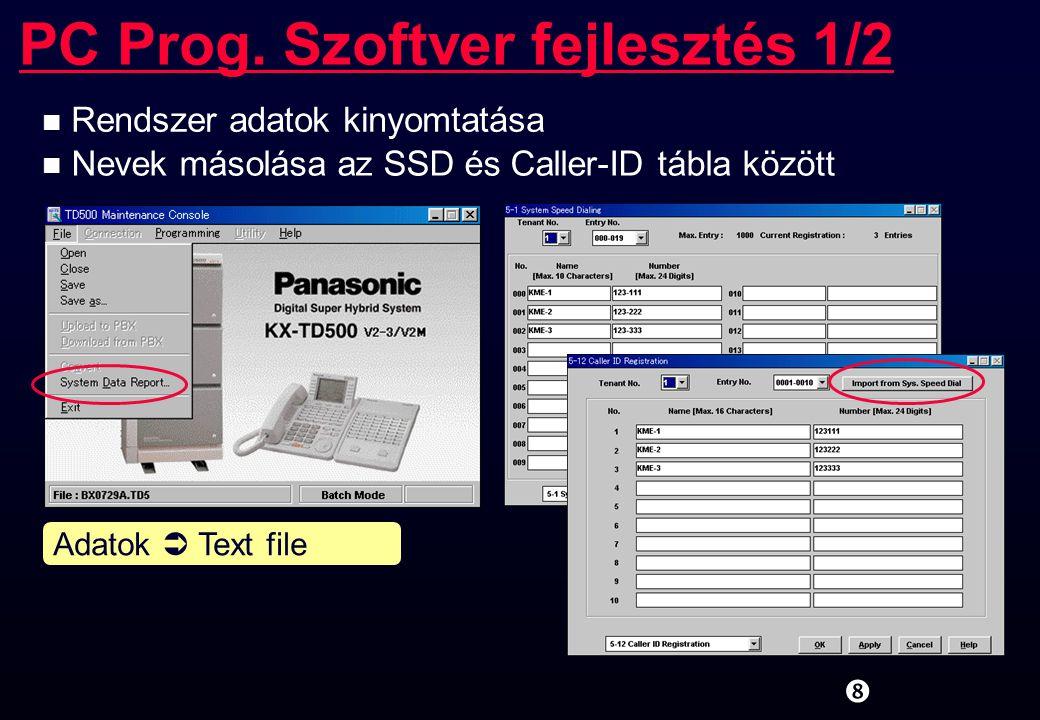 """PC Prog. Szoftver fejlesztés 1/2 """" n Rendszer adatok kinyomtatása n Nevek másolása az SSD és Caller-ID tábla között Adatok  Text file"""