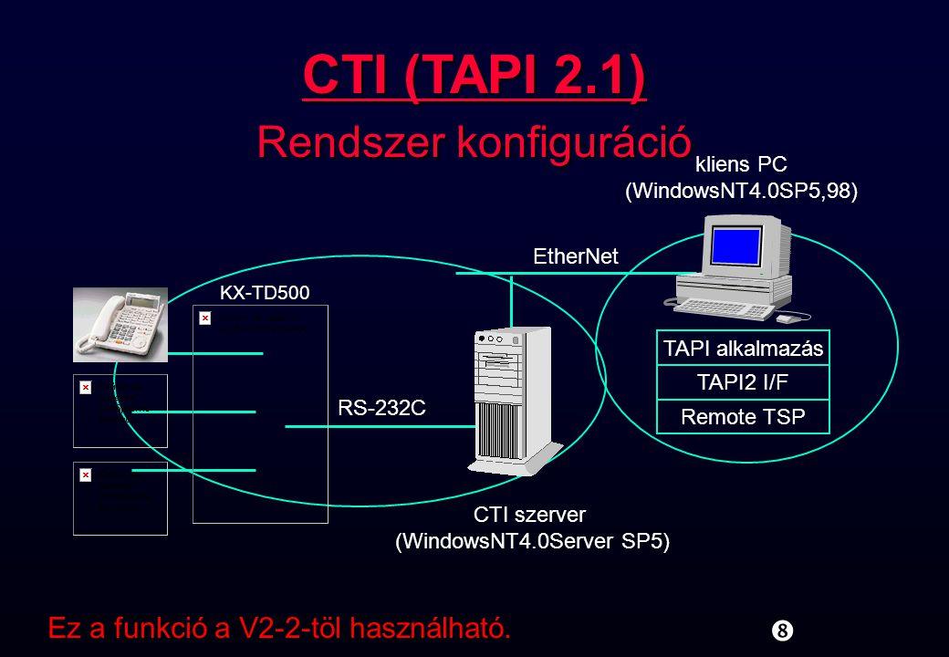 """CTI szerver (WindowsNT4.0Server SP5) RS-232C KX-TD500 kliens PC (WindowsNT4.0SP5,98) EtherNet TAPI alkalmazás TAPI2 I/F Remote TSP """" CTI (TAPI 2.1) Re"""