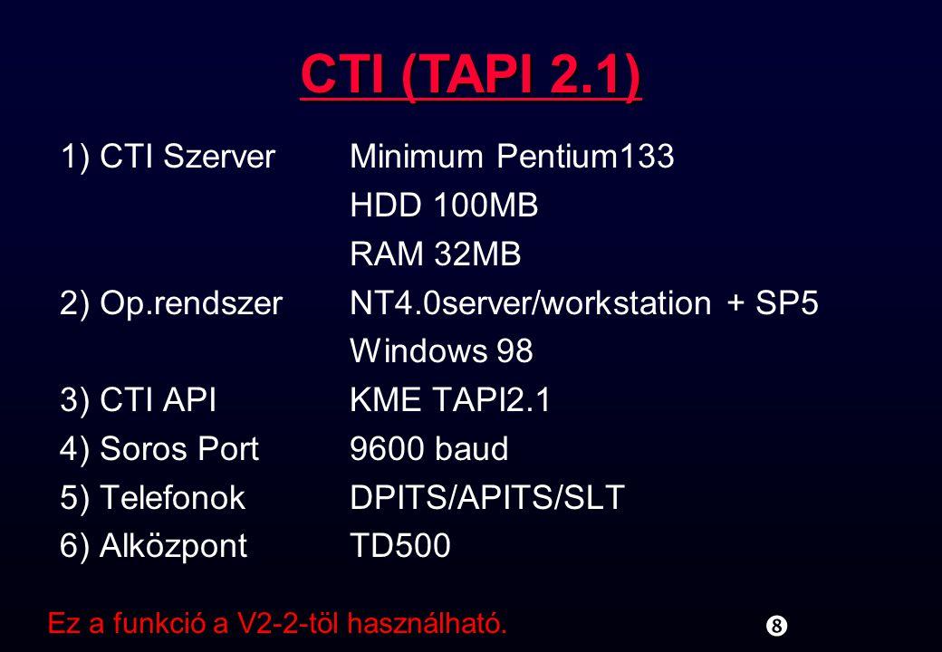 1) CTI SzerverMinimum Pentium133 HDD 100MB RAM 32MB 2) Op.rendszerNT4.0server/workstation + SP5 Windows 98 3) CTI APIKME TAPI2.1 4) Soros Port9600 bau
